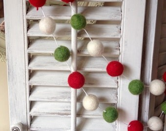 White String 16ft Garland Felt Ball Garland, Christmas Garland, Wool Pom Pom, Holiday Garland, Felt Garland, Party Decor Party Decorations