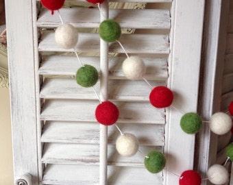 White String 10ft Garland Felt Ball Garland, Christmas Garland, Wool Pom Pom, Holiday Garland, Felt Garland, Party Decor Party Decorations
