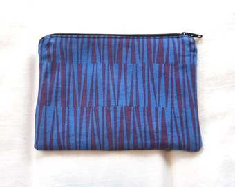 Purple and Blue Fabric Coin Purse/Zipper Pouch