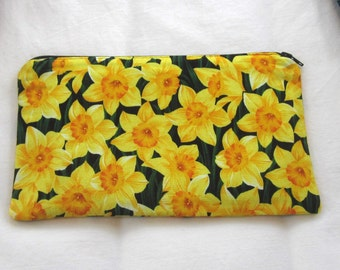 Daffodil Fabric  Zipper Pouch / Pencil Case / Make Up Bag / Gadget Pouch