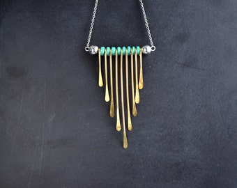 Gold Toned Fringe Teardrop Necklace With Turquoise Colored Spacer And Silver Ball Beads