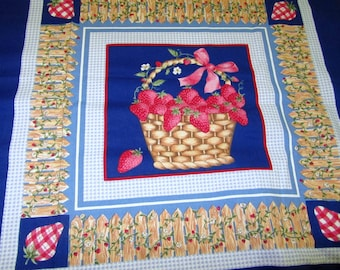 BERRY BASKETS and GiNGHAM  PiLLOW PANELS FABRiC QUiLT SQuARES