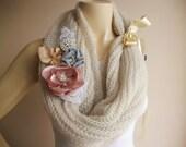 Stone Knit Scarf / Wedding Wrap Shrug Bolero/Hand Knit Mohair Shawl with Brooch