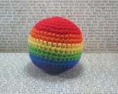 Bright Rainbow Rattle Baby Crochet Ball Toy