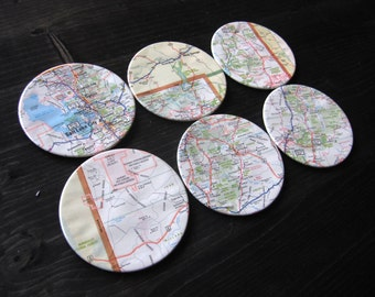 Utah Vintage Map Coasters (Set of 6)