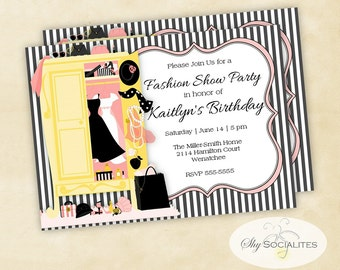 Fashion Party Invitation | Dress Up Party | Fundraiser | Bridal Shower, dresses, bridesmaids luncheon | PDF | Instant Download