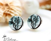 20% off -NEW Unique 3D Embossed  Tree 16mm Round Handmade Wood Cut Cabochon to make Rings, Earrings, Bobby pin,Necklaces, Bracelets-(WG-60)