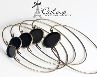 10PCS Antique bronze / Silver Cabochon Base Bangle Bracelet With 12mm / 14mm / 16mm / 18mm/ 20mm Round Cameo Tray Setting  ( CBS-22)