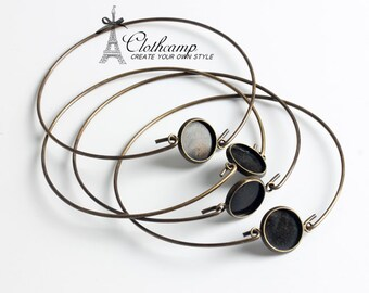 10pcs 12mm Antique bronze / Silver Cabochon Base Bangle Bracelet With 12mm Round Cameo Tray Setting ( CBS-22)