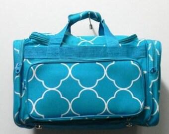 "Personalized 17"" Duffle Bag-Turquoise Quatrefoil GYM DANCE GYMNASTICS Overnight Bag"