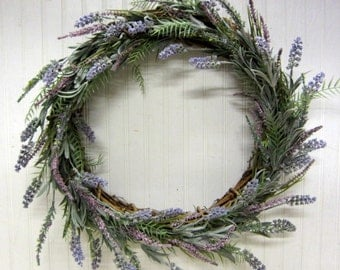 Beautiful Faux Lavender Grapevine Wreath Summer Door Decor