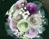 "The Ainslee 2"" spiral book page tulle lavender purple and mint babys breath bridesmaid bouquet recycled toss wedding bouquet"