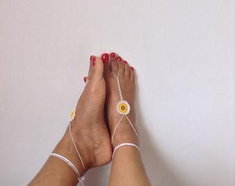 yellow white Barefoot Sandals, bead, barefoot sandles, wedding, Bikini, Bridal Sandals, Bridal Jewelry, shoes Women, Beach, READY TO SHIP