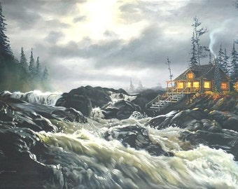 Cabin river landscape original 30x48 oils on canvas painting by RUSTY RUST / L-30