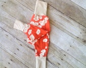 Organic Harem Pants - Baby Harem Pants - Birch Fabric - Coral Poppies