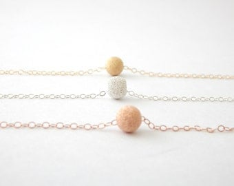 Stardust Bead Layering Necklace - Sterling Silver, 14k Gold, 14k Rose Gold, Minimalist Layering Jewelry, Geometric Jewelry, Gifts for Her