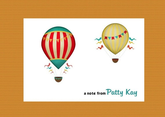 Personalized Note Cards-Hot Air Balloon, Boxed Set of 10