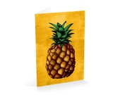 Pineapple greeting card-A6 sized blank greeting card-hand cut-hand scored and folded