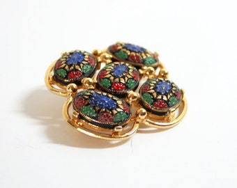 1968 Mosaic Brooch  Enamel Brooch   Coventry Brooch   Light of the East Brooch  Vintage Coventry  Mosaic Pin  Enamel Pin Costume Jewelry