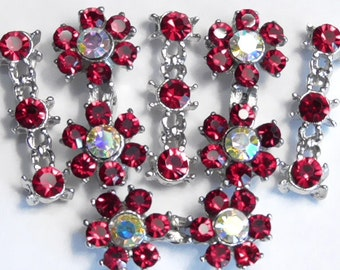 Six 2 OR 3 Hole Slider Beads Siam, Rainbow AB Austrian Crystal Double Flower & Spacers