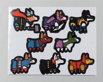 Small Super Corgi vinyl stickers - one team of superhero corgi dogs