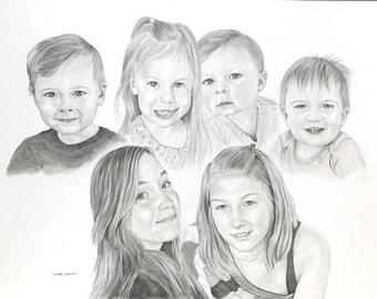 Custom Pencil Family Portrait Commission