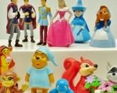 Miniature Disney Fairytale figures princess prince witch tigger pooh mouse Cinderella monkey dollhouse shadow box display lot 12