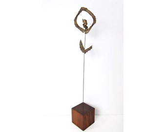 Modernist Rosewood Metal Sculpture - Bertoia Evans Era Brutalist Abstract Floral Brass Steel Wood - Table Sculpture Mobile