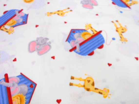 Daisy kingdom noahs ark print fabric nursery prints 1 yd for Nursery print fabric