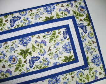Floral Table Runner, Pansy, butterflies, Summer, table linens, focus fabric from Northcott