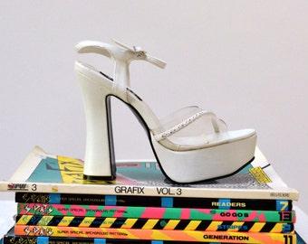 Vintage 90s Clear White Platform Heels, size 8 // 90s Clear White Platforms, Size 8 for Wedding Spice Girl Shoes