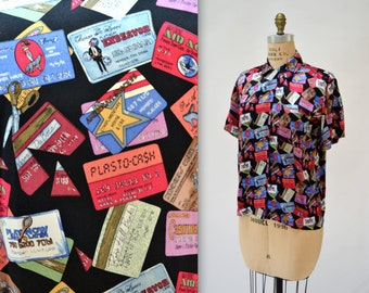 90s Vintage Nicole Miller Silk Shirt with Credit Cards, Shopping and Money Size Small Pop Culture 90s Art