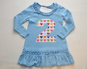 Rainbow Heart 2nd Birthday Dress, Blue Ruffle Tunic, Number 2 Shirt, Ready to Ship on Size 3 Dress Fits Like 2T 3T, Applique Two Tunic Dress