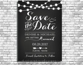 Save the date postcard - Engagement - Chalkboard Invites