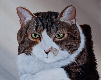 Custom Pet Portraits:  Two Pets' Portrait, Stretched Canvas, 16 x 20 inches