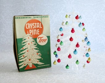 Vintage Plasco Tree Doll House Mini  /  Tabletop Tree with Ornaments  /  Vintage Christmas Tree c. 1940s