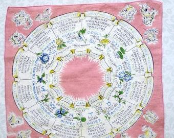 Vintage Fortune Teller Zodiac Astrology Hankie Handkerchief /  Astrology Sign Hankie  / Pink Cotton Novelty Zodiac