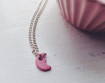 tiny pink moon -necklace (pink ceramic moon charm and silver plated chain minimal discreet neckpiece)