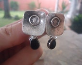 EAR STUDS & glass drop earrings - black tears (760)