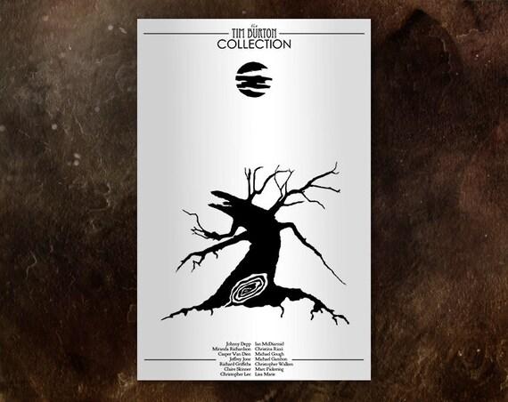 Sleepy Hollow Alternative Movie Poster // Black & White Dying Tree, Full Moon, and Underworld Portal Illustrations
