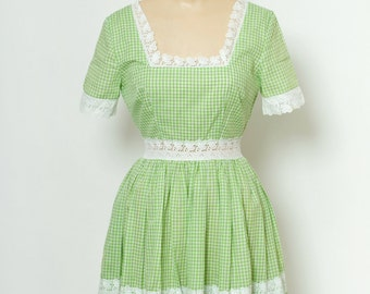 Vintage Dress / Checkerboard White & Green / 60s /  Square Dancing Country Western Dress /  circle skirt dress