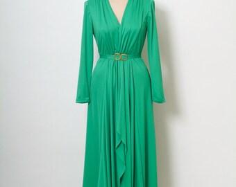 Vintage 70s Maxi /Jersey Maxi Dress Gown / Green Dress / Matching Belt /Goddess maxi / long sleeve Dress