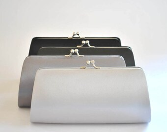 Set of 4-Simple Satin clutches in Medium size / Bridesmaid clutches / Wedding clutches - Custom Color