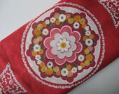 Large scale vintage mod Asian floral screen print red pink cotton poly broadcloth fabric 2 yards available