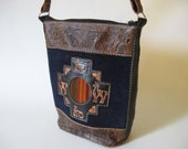 REDUCED-Rare Dormeuil England tooled blue suede leather vintage zip top bucket purse woven detail small cross body swing bag