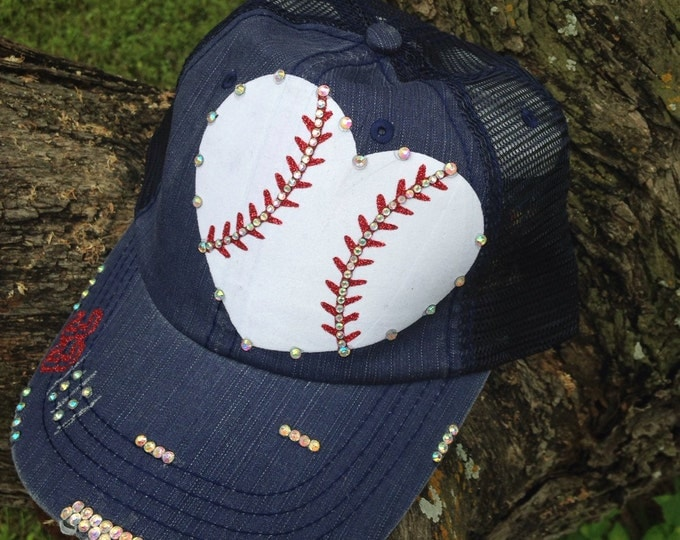 Baseball Heart, Personalized Womens Baseball Cap, Fan Gear, Baseball Mom Hat, Rhinestone Baseball, Trucker Cadet, Bling Baseball Caps