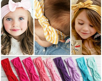 CLEARANCE Baby Headbands, Cotton Girls Head wraps, Baby Head wraps, Jersey Knit Headwraps, Baby Headbands, Knott Headband,