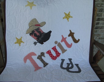 Personalized, Crib Quilt,  Baby Bedding, Western, Cowboy, Crib Bedding, Toddler Bedding, Quilt, Boots, Hat, Boy or Girl