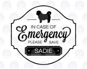 In Case of Emergency Save Our Pet - Vinyl Decal - Set of 2