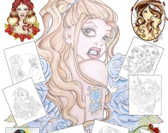 Pin Up Art Coloring Packet - Coloring Book - Fantasy Art Coloring Sheets - Adult Coloring Pages - Outline Art - Pin Up Designs - Coloring